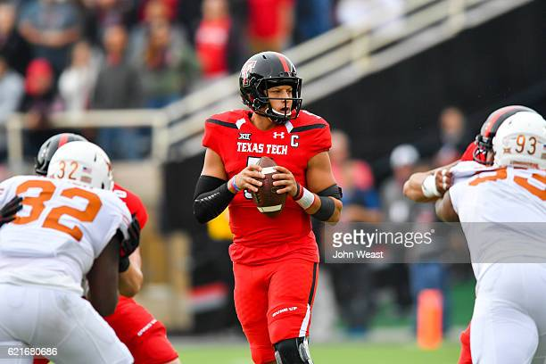 Patrick Mahomes II of the Texas Tech Red Raiders looks to pass the ball during the game against the Texas Longhorns on November 5 2016 at ATT Jones...
