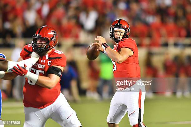 Patrick Mahomes II of the Texas Tech Red Raiders passes the ball during the first half against the Kansas Jayhawks on September 29 2016 at ATT Jones...