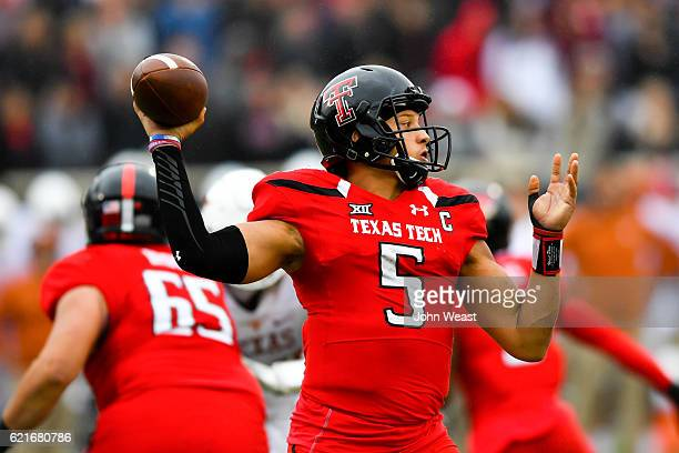 Patrick Mahomes II of the Texas Tech Red Raiders passes the ball during the game against the Texas Longhorns on November 5 2016 at ATT Jones Stadium...