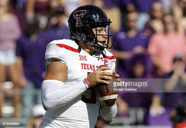 Patrick Mahomes II of the Texas Tech Red Raiders throws against the TCU Horned Frogs in the first half at Amon G Carter Stadium on October 29 2016 in...