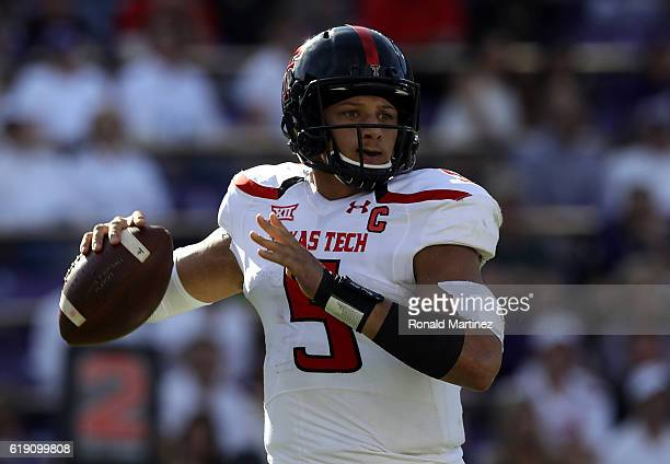 Patrick Mahomes II of the Texas Tech Red Raiders throws against the TCU Horned Frogst in the first half at Amon G Carter Stadium on October 29 2016...