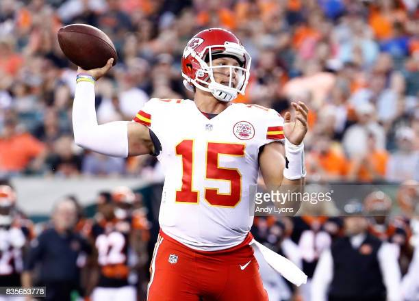 Patrick Mahomes of the Kansas City Chiefs throws a touchdown pass against the Cincinnati Bengals during the preseason game at Paul Brown Stadium on...