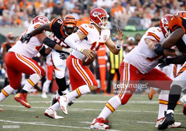 Patrick Mahomes of the Kansas City Chiefsruns with the ball against the Cincinnati Bengals during the preseason game at Paul Brown Stadium on August...