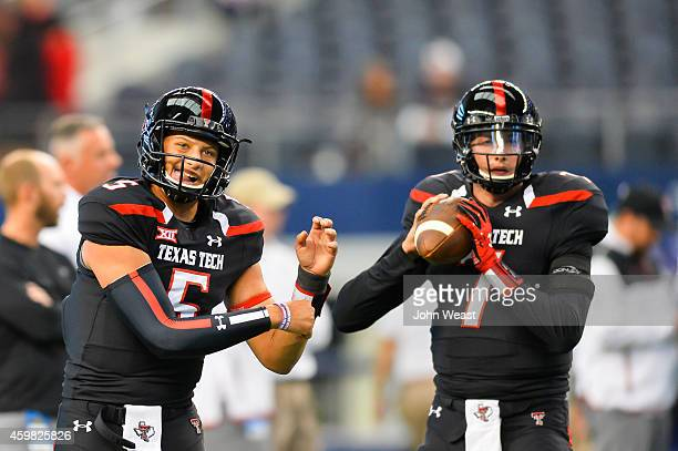 Patrick Mahomes of the Texas Tech Red Raiders and Davis Webb of the Texas Tech Red Raiders before the game against the Baylor Bears on November 29...