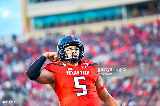 Patrick Mahomes of the Texas Tech Red Raiders celebrates touchdown during the fourth quarter against the Kansas State Wildcats on November 14 2015 at...