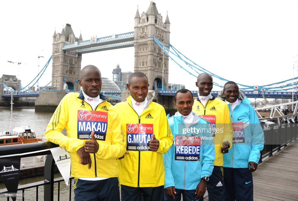 Patrick Makau, Geoffrey Mutai, Tsegaye Kebede, Wilson Kipsang and Stephen Kiprotich attend a photocall ahead of taking part in the Virgin London Marathon at The Tower Hotel on April 17, 2013 in London, England.