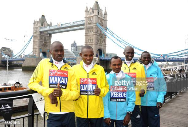 Patrick Makau Geoffrey Mutai Tsegaye Kebede Wilson Kipsang and Stephen Kiprotich attend a photocall ahead of taking part in the Virgin London...
