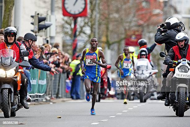 Patrick Makau of Kenya competes in the Rotterdam Marathon in Rotterdam during the 30th edition of the event on April 11th 2010 The 25 years old...
