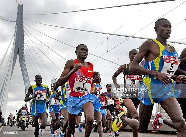 Patrick Makau R of Kenya competes in the Rotterdam Marathon in Rotterdam during the 30th edition of the event on April 11th 2010 The 25 years old...