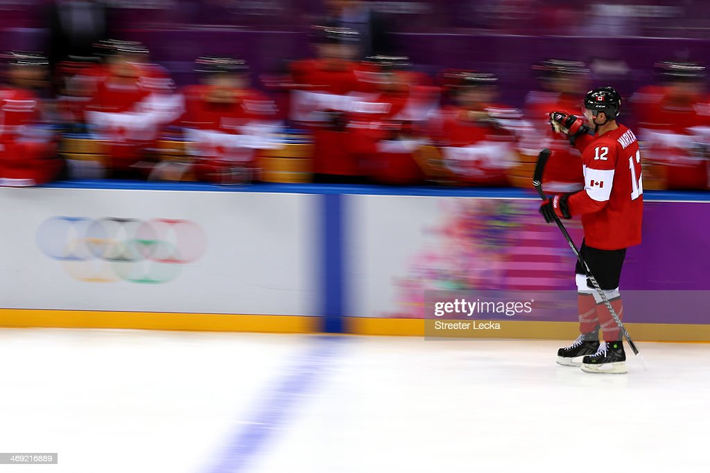 <a gi-track='captionPersonalityLinkClicked' href=/galleries/search?phrase=Patrick+Marleau&family=editorial&specificpeople=203165 ng-click='$event.stopPropagation()'>Patrick Marleau</a> #12 of Canada celebrates with teammates after Drew Doughty #8 of Canada scored a goal in the third period against Norway during the Men's Ice Hockey Preliminary Round Group B game on day six of the Sochi 2014 Winter Olympics at Bolshoy Ice Dome on February 13, 2014 in Sochi, Russia.