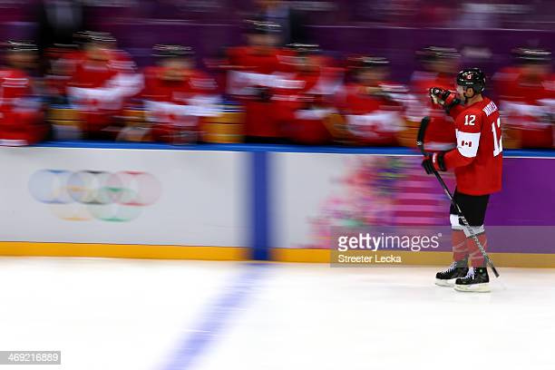 Patrick Marleau of Canada celebrates with teammates after Drew Doughty of Canada scored a goal in the third period against Norway during the Men's...