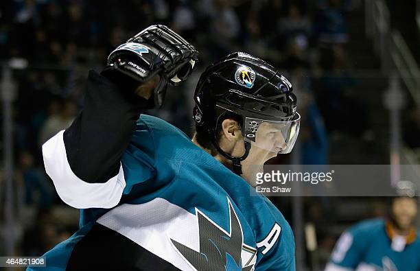 Patrick Marleau of the San Jose Sharks celebrates after he scored a goal in the second period of their game against the Ottawa Senators at SAP Center...