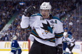 Patrick Marleau of the San Jose Sharks celebrates after scoring a goal during Game One of the Western Conference Quarterfinals of the 2013 NHL...
