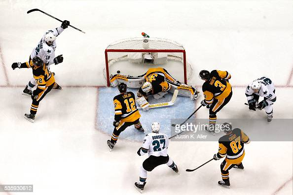 Patrick Marleau of the San Jose Sharks celebrates after scoring a second period goal against Matt Murray of the Pittsburgh Penguins in Game One of...