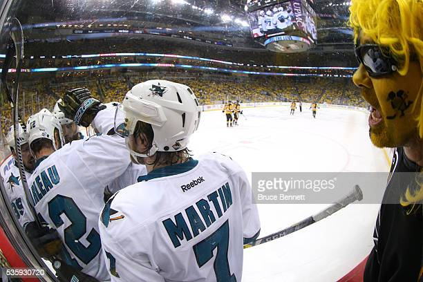 Patrick Marleau of the San Jose Sharks celebrates with teammates after scoring a second period goal against Matt Murray of the Pittsburgh Penguins in...