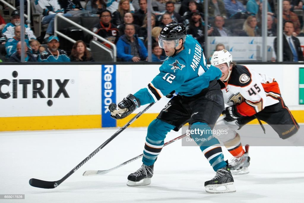 Patrick Marleau #12 of the San Jose Sharks handles the puck during a NHL game against the Anaheim Ducks at SAP Center at San Jose on March 18, 2017 in San Jose, California.
