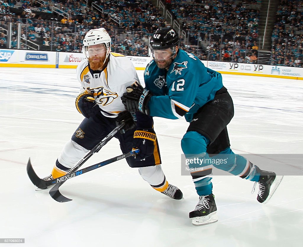 Patrick Marleau #12 of the San Jose Sharks races down the ice against Ryan Ellis #4 of the Nashville Predators in game two of the Western Conference Second Round during the 2016 NHL Stanley Cup Playoffs at the SAP Center at San Jose on May 1, 2016 in San Jose, California.