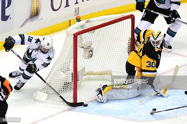Patrick Marleau of the San Jose Sharks scores a second period goal against Matt Murray of the Pittsburgh Penguins in Game One of the 2016 NHL Stanley...