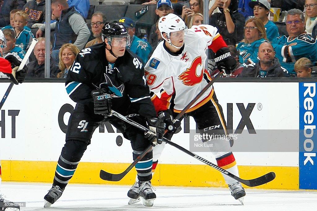 Patrick Marleau #12 of the San Jose Sharks skates against Alex Chiasson #39 of the Calgary Flames during a NHL game at SAP Center at San Jose on November 3, 2016 in San Jose, California.