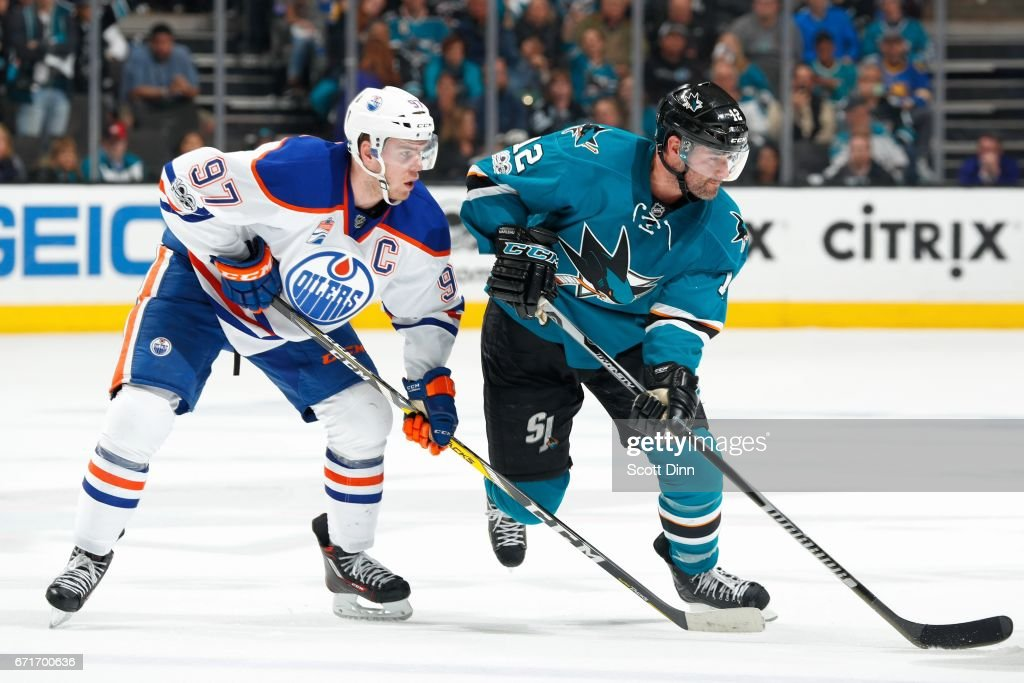 Patrick Marleau #12 of the San Jose Sharks skates against Connor McDavid #97 of the Edmonton Oilers in Game Six of the Western Conference First Round during the 2017 NHL Stanley Cup Playoffs at SAP Center at San Jose on April 22, 2017 in San Jose, California.