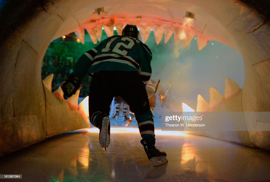 Patrick Marleau #12 of the San Jose Sharks skates onto the ice before the start of his game against the Phoenix Coyotes at HP Pavilion on February 9, 2013 in San Jose, California.