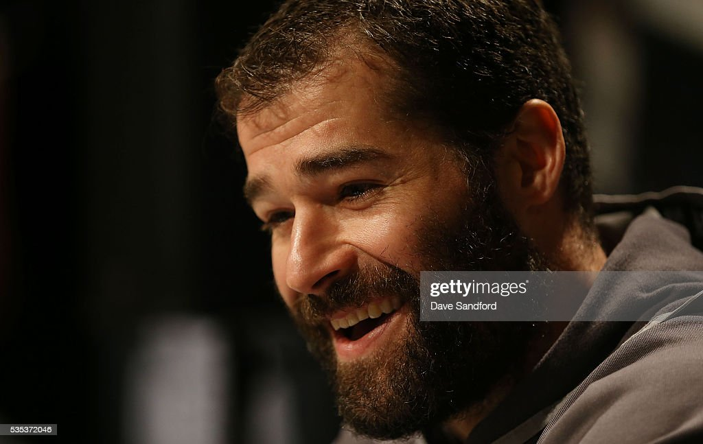<a gi-track='captionPersonalityLinkClicked' href=/galleries/search?phrase=Patrick+Marleau&family=editorial&specificpeople=203165 ng-click='$event.stopPropagation()'>Patrick Marleau</a> #12 of the San Jose Sharks speaks during Media Day prior to the 2016 NHL Stanley Cup Final between the Pittsburgh Penguins and San Jose Sharks May 29, 2016 at Consol Energy Center in Pittsburgh, Pennsylvania, United States.