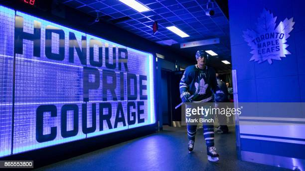 Patrick Marleau of the Toronto Maple Leafs returns to the dressing room after warm up before facing the Los Angeles Kings at the Air Canada Centre on...
