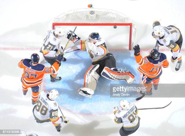 Patrick Maroon and Connor McDavid of the Edmonton Oilers celebrate after scoring a goal on Dylan Ferguson of the Vegas Golden Knights on November 14...