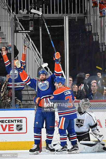 Patrick Maroon and Drake Caggiula of the Edmonton Oilers celebrates a goal against the Los Angeles Kings on December 29 2016 at Rogers Place in...