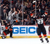Patrick Maroon and Francois Beauchemin of the Anaheim Ducks celebrates Maroon's goal against the San Jose Sharks on April 9 2014 at Honda Center in...
