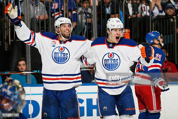 Patrick Maroon and Jesse Puljujarvi of the Edmonton Oilers celebrate after a second period goal against the New York Rangers at Madison Square Garden...