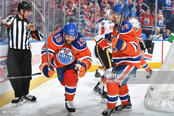 Patrick Maroon and Jordan Eberle of the Edmonton Oilers celebrate after a goal during the game against the Calgary Flames on January 14 2017 at...