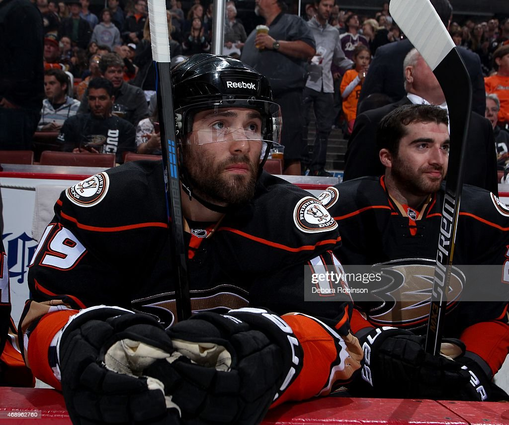 Patrick Maroon and Kyle Palmieri of the Anaheim Ducks look on from the bench before the game against the Dallas Stars on April 8 2015 at Honda Center...