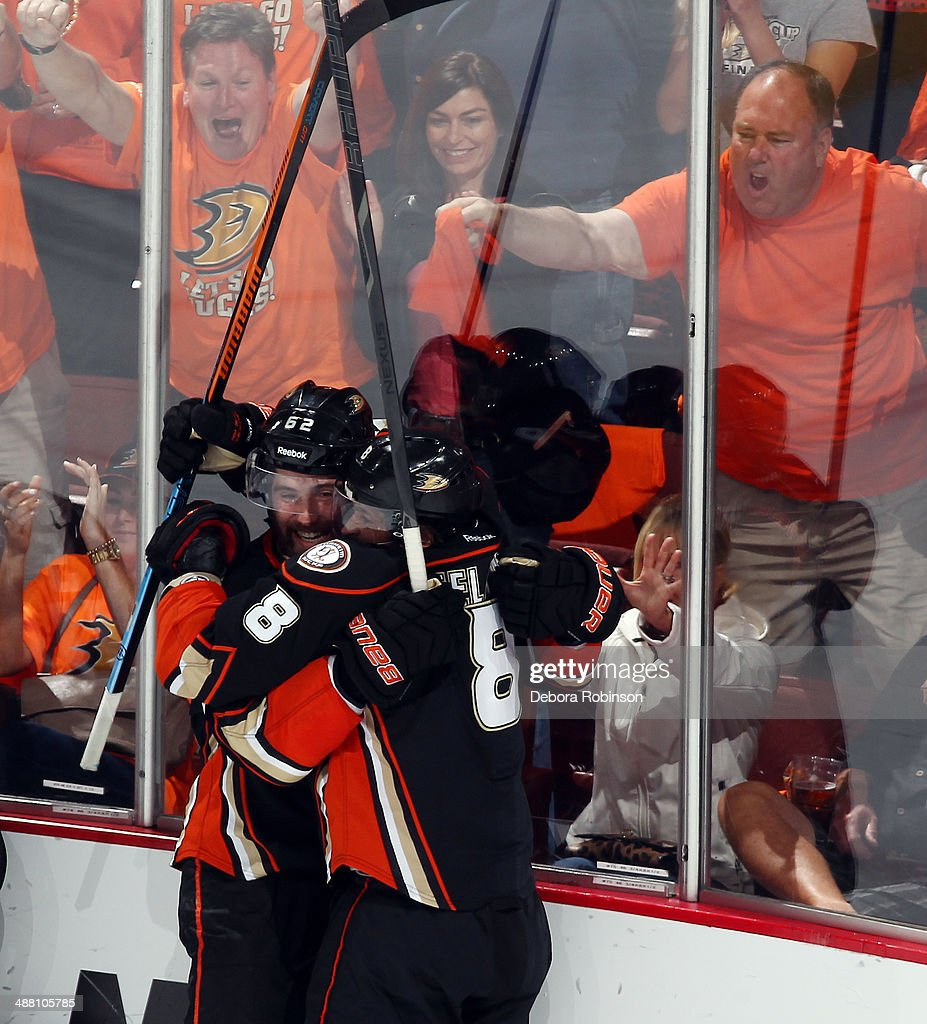 Patrick Maroon #62 and Teemu Selanne #8 of the Anaheim Ducks celebrate a goal scored by Selanne in the third period of Game One of the Second Round of the 2014 Stanley Cup Playoffs at Honda Center on May 3, 2014 in Anaheim, California.