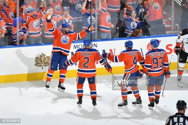 Patrick Maroon Andrej Sekera Kris Russell and Ryan NugentHopkins of the Edmonton Oilers celebrate after a goal in Game Three of the Western...