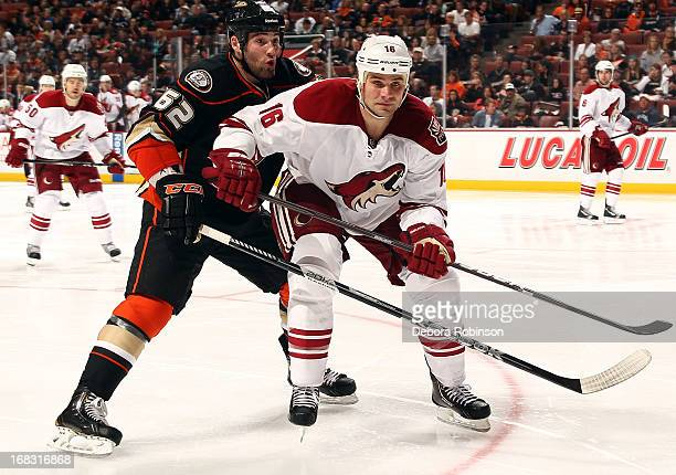 Patrick Maroon of the Anaheim Ducks battles against Rostislav Klesla of the Phoenix Coyotes during the game on April 27 2013 at Honda Center in...