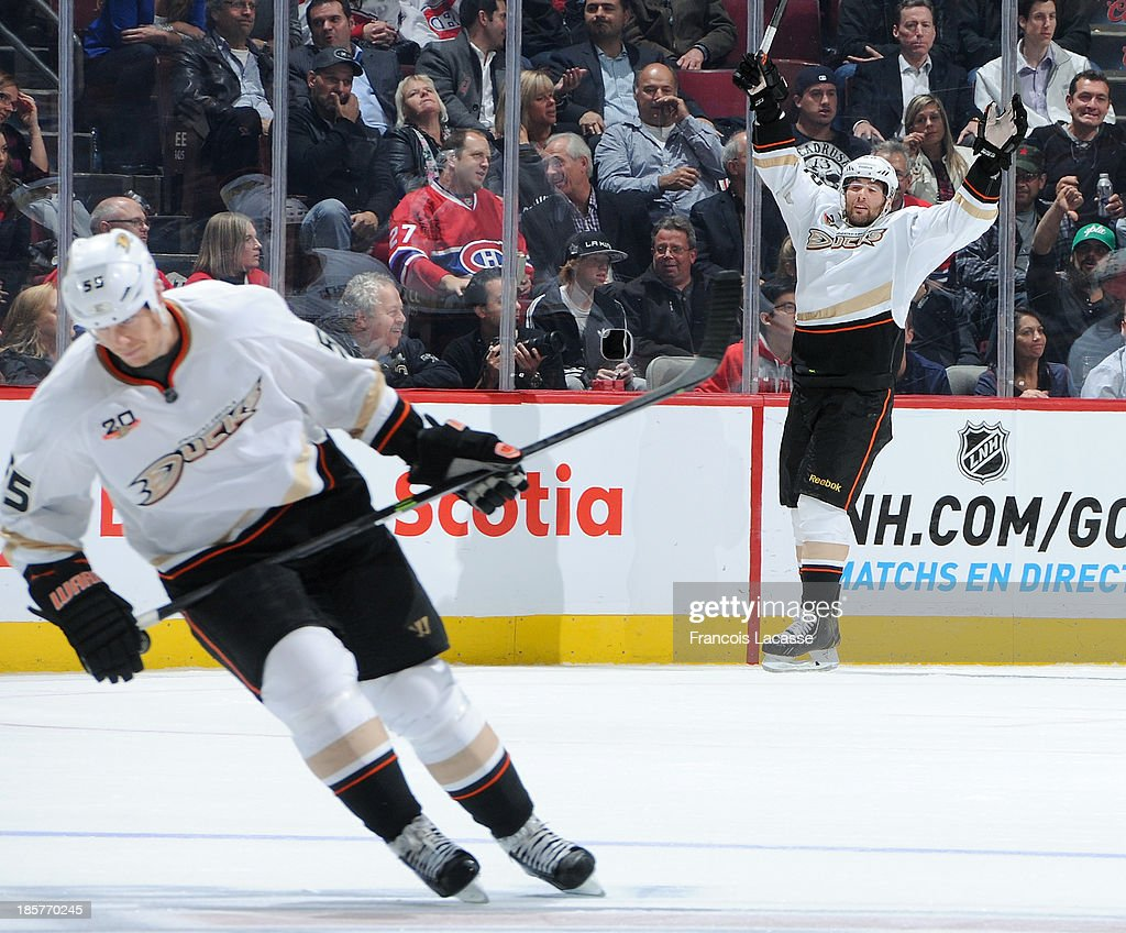 <a gi-track='captionPersonalityLinkClicked' href=/galleries/search?phrase=Patrick+Maroon&family=editorial&specificpeople=4589240 ng-click='$event.stopPropagation()'>Patrick Maroon</a> #62 of the Anaheim Ducks celebrates after scoring a goal against the Montreal Canadiens in the third period during the NHL game on October 24, 2013 at the Bell Centre in Montreal, Quebec, Canada.