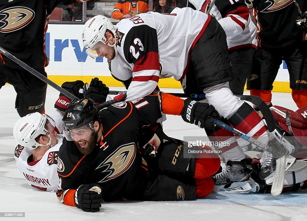 Patrick Maroon #19 of the Anaheim Ducks celebrates on the ice after a third period goal against the Arizona Coyotes on February 5, 2016 at Honda Center in Anaheim, California. The goal was overturned after review.