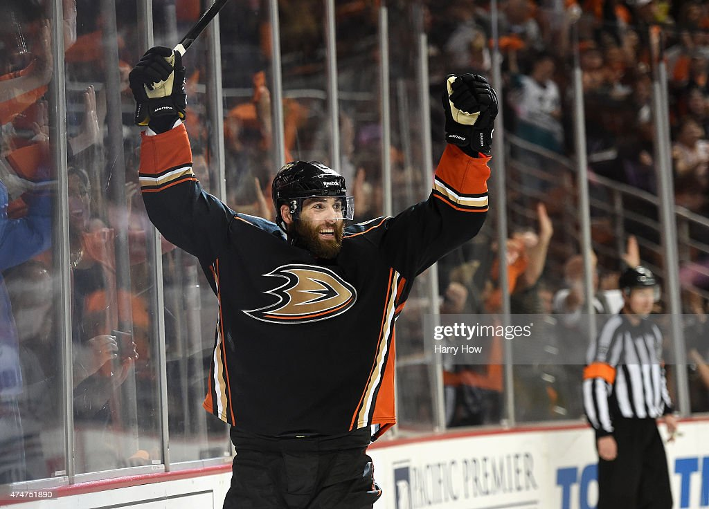 Patrick Maroon of the Anaheim Ducks celebrates scoring a goal against the Chicago Blackhawks in the third period of Game Five of the Western...