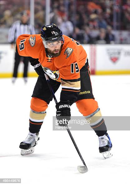 Patrick Maroon of the Anaheim Ducks lines up for a faceoff against the no at Honda Center on November 1 2015 in Anaheim California