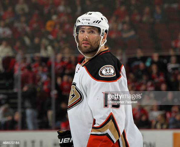 Patrick Maroon of the Anaheim Ducks looks on during the third period against the New Jersey Devils at the Prudential Center on March 29 2015 in...