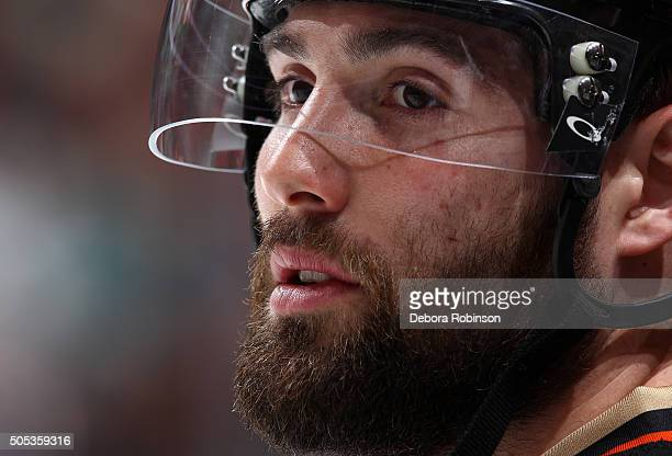 Patrick Maroon of the Anaheim Ducks looks on during warm ups before the game against the Ottawa Senators on January 13 2016 at Honda Center in...