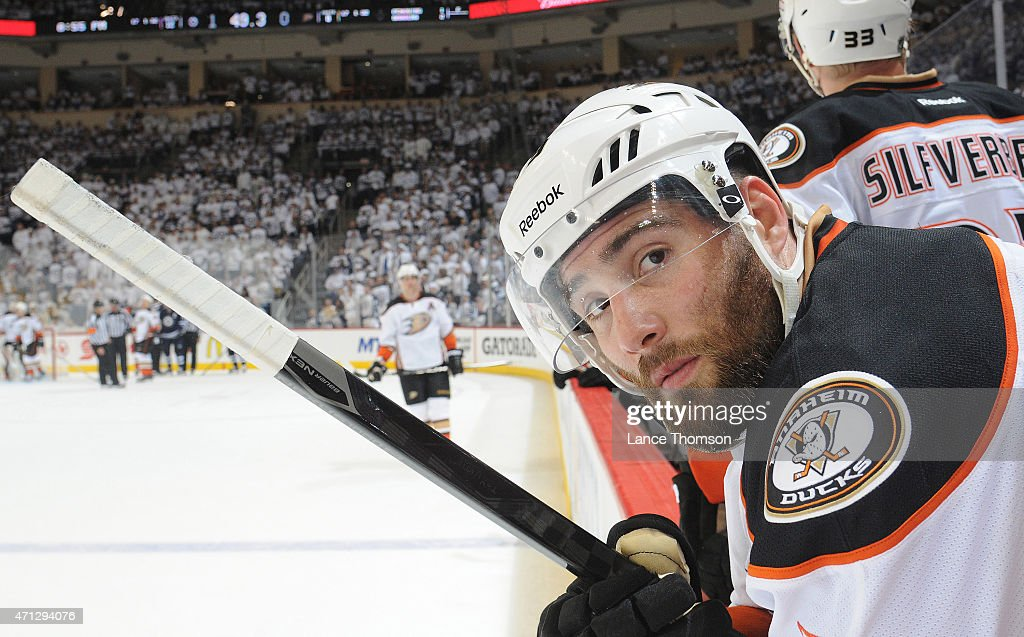 Patrick Maroon of the Anaheim Ducks looks on from the bench during firstperiod action against the Winnipeg Jets in Game Three of the Western...