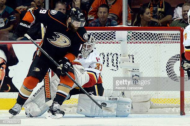 Patrick Maroon of the Anaheim Ducks looks to shoot against goalie Karri Ramo of the Calgary Flames in Game Five of the Western Conference Semifinals...