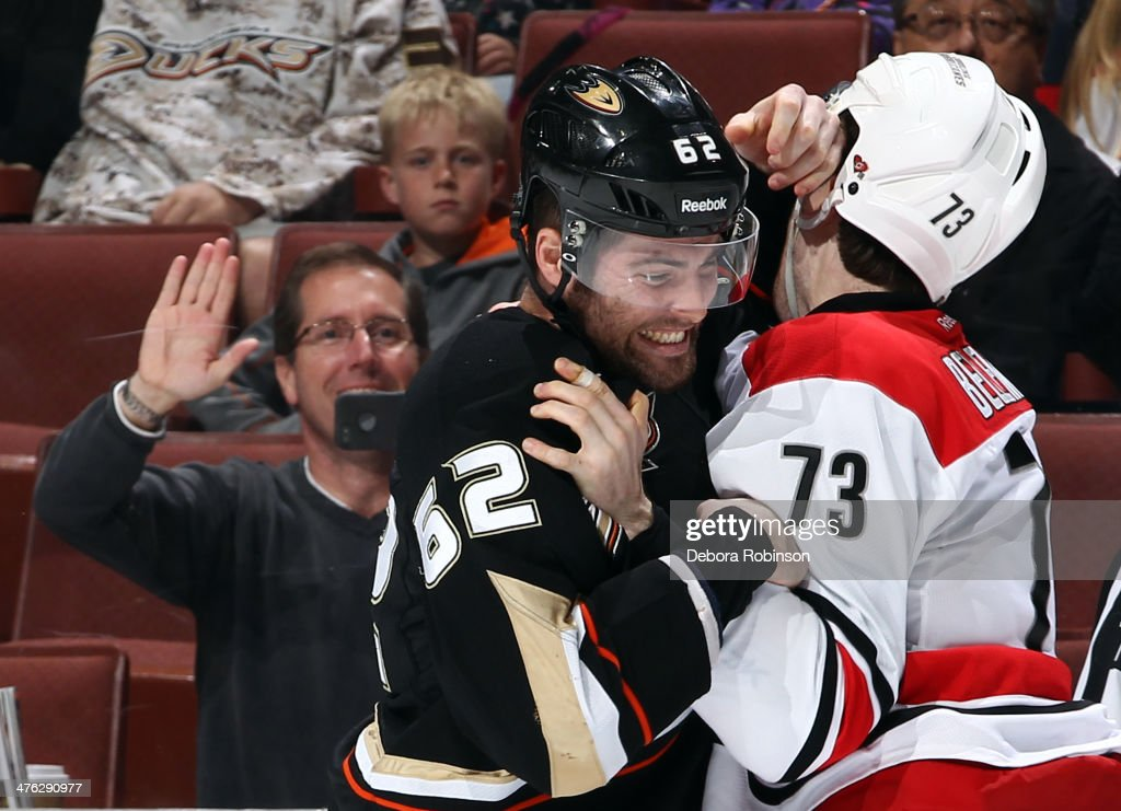 <a gi-track='captionPersonalityLinkClicked' href=/galleries/search?phrase=Patrick+Maroon&family=editorial&specificpeople=4589240 ng-click='$event.stopPropagation()'>Patrick Maroon</a> #62 of the Anaheim Ducks mixes it up with <a gi-track='captionPersonalityLinkClicked' href=/galleries/search?phrase=Brett+Bellemore&family=editorial&specificpeople=4270909 ng-click='$event.stopPropagation()'>Brett Bellemore</a> #73 of the Carolina Hurricanes on March 2, 2014 at Honda Center in Anaheim, California.