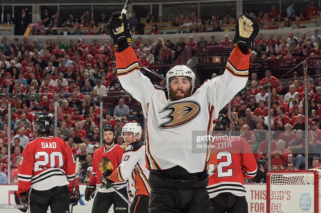 Patrick Maroon of the Anaheim Ducks reacts after scoring against the Chicago Blackhawks in the second period in Game Six of the Western Conference...