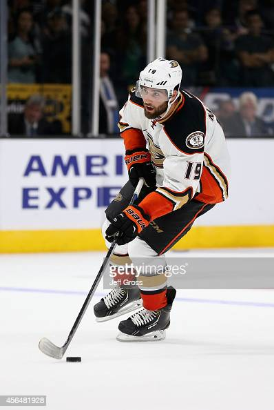 Patrick Maroon of the Anaheim Ducks skates against the Los Angeles Kings at Staples Center on September 25 2014 in Los Angeles California