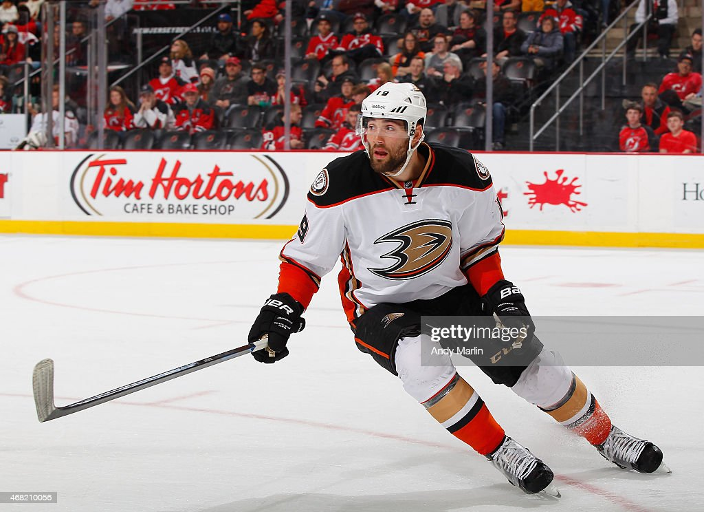 Patrick Maroon of the Anaheim Ducks skates against the New Jersey Devils during the game at the Prudential Center on March 29 2015 in Newark New...