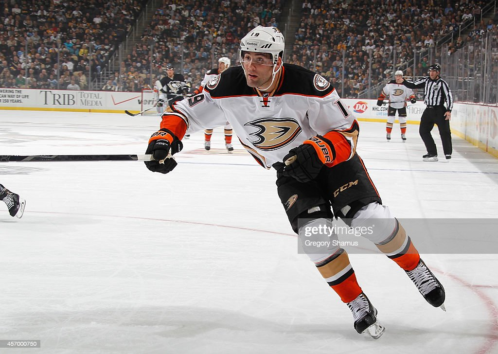 Patrick Maroon of the Anaheim Ducks skates against the Pittsburgh Penguins at Consol Energy Center on October 9 2014 in Pittsburgh Pennsylvania