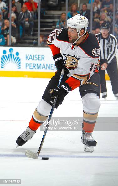 Patrick Maroon of the Anaheim Ducks skates with the puck against the San Jose Sharks at SAP Center on September 26 2015 in San Jose California